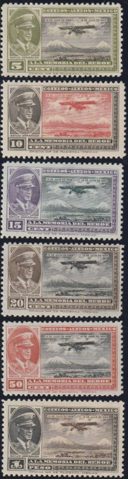 Mexico issued six airmail stamps (C5-10) to honor Carranza in 1929, on the anniversary of his death.